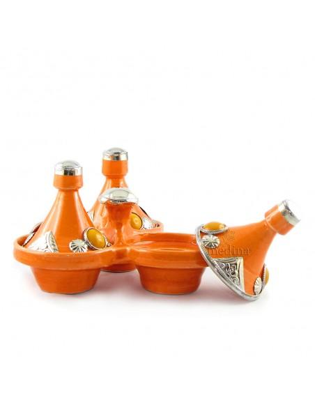 Tajine trois épices, trois tajines marocains a épices couleur orange
