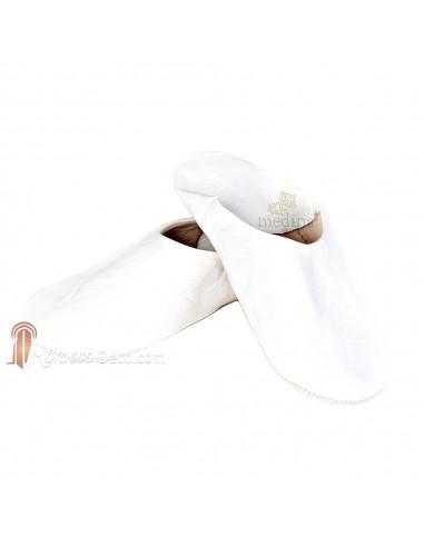 Babouche Kenza blanc Babouche marocaine en cuir véritable pantoufles alliant confort et élégance
