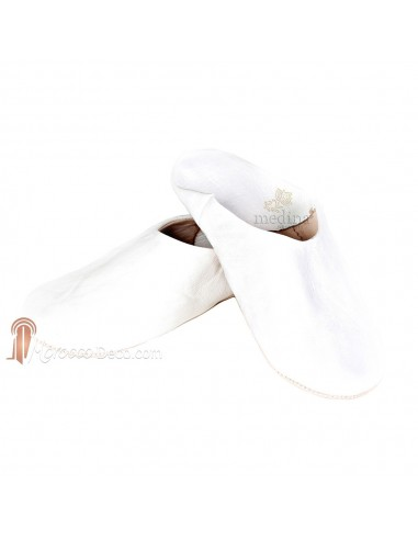 Babouche Kenza blanc_ Babouche marocaine en cuir véritable_ pantoufles alliant du confort et de lélégance_ chaussons cousus mai