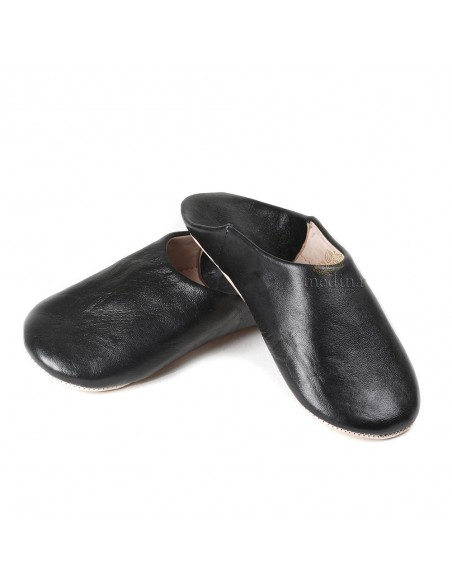 Babouche Kenza noir Babouche marocaine en cuir véritable pantoufles alliant confort et élégance