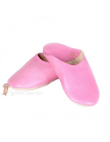 Babouche Kenza rose_ Babouche marocaine en cuir véritable_ pantoufles alliant du confort et de lélégance_ chaussons cousus main