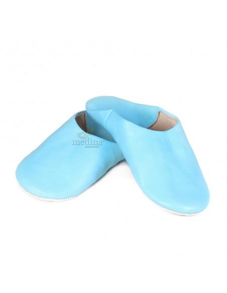 Babouche Kenza bleu ciel Babouche marocaine en cuir véritable pantoufles alliant confort et élégance