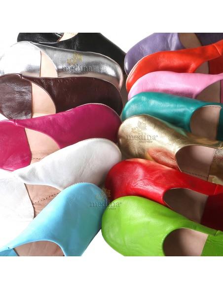 Babouche Kenza pistache Babouche marocaine en cuir véritable pantoufles alliant confort et élégance