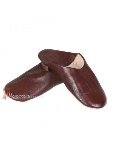 Babouche Kenza marron_ Babouche marocaine en cuir véritable_ pantoufles alliant du confort et de lélégance_ chaussons cousus ma