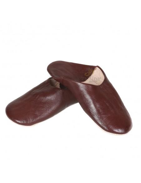 Babouche Kenza marron Babouche marocaine en cuir véritable pantoufles alliant confort et élégance
