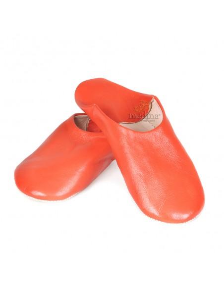 Babouche Kenza orange Babouche marocaine en cuir véritable pantoufles alliant confort et élégance