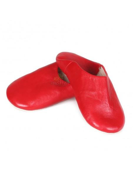 Babouche Kenza rouge Babouche marocaine en cuir véritable pantoufles alliant confort et élégance