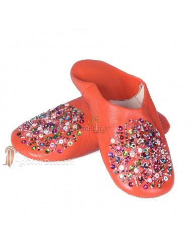 Babouche Essaouira orange_ babouche marocaine en cuir veritable_ chaussons cousus main_ mocassins femme_ pantoufles confortables