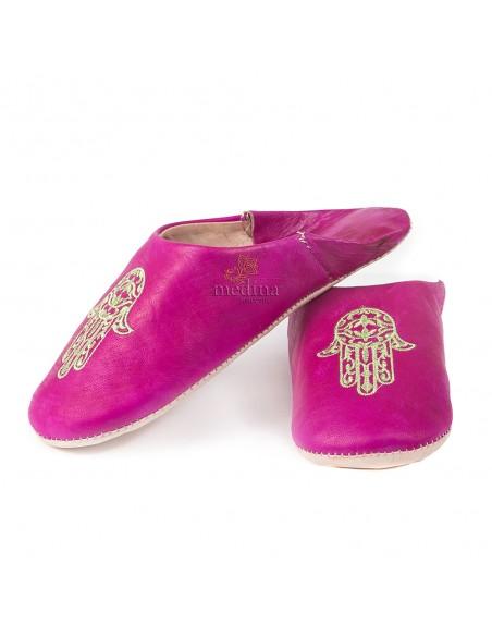 Babouche marocaine main de Fatima violet