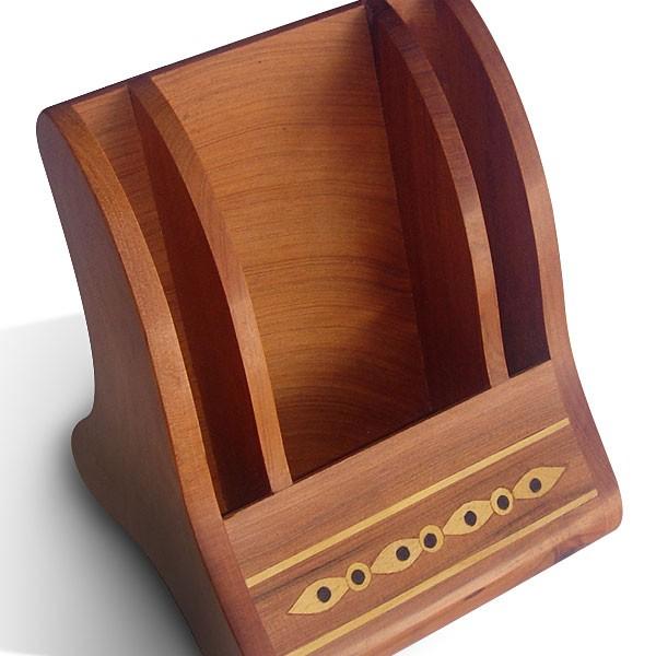 Support telephone en bois