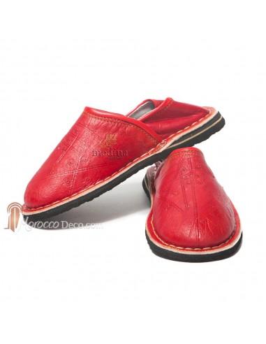 Babouche Touareg enfant mixte rouge, babouches confortables et solides, chaussons marocaines robustes
