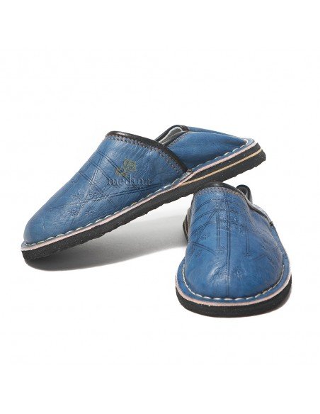 Babouche Touareg enfant mixte bleu jeans, babouches confortables et solides, chaussons marocaines robustes