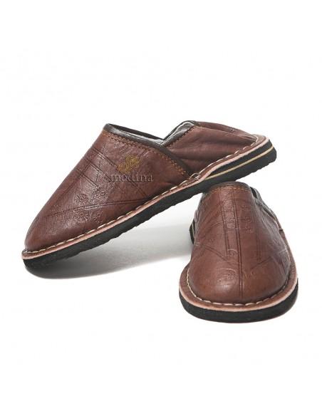 Babouche Touareg enfant mixte couleur marron, babouches confortables et solides, chaussons robustes