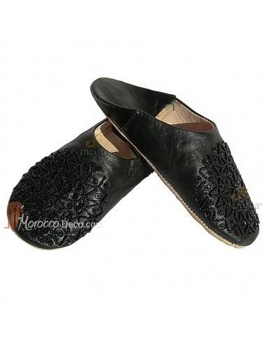 Babouche paillettes brodées, babouche Femme modele Galia noir, babouches a bout rond cousues main, chaussons en cuir veritable