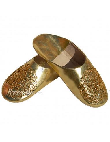 Babouche paillettes brodées, babouche Femme modele Galia or, babouches a bout rond cousues main, chaussons en cuir veritable