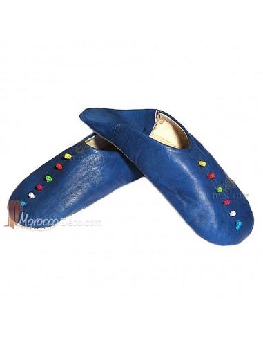 Babouche Rosa Marrakech bleu foncé, babouches confectionnees et cousues main, chaussons en cuir veritable et soie de sabra