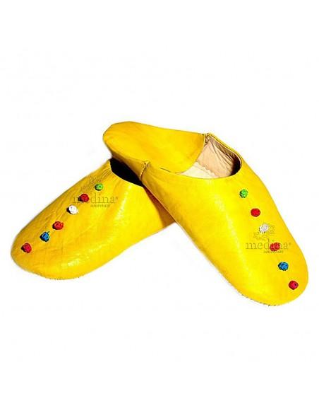 Babouche Rosa Marrakech jaune, babouches confectionnees et cousues main, chaussons en cuir veritable et soie de sabra