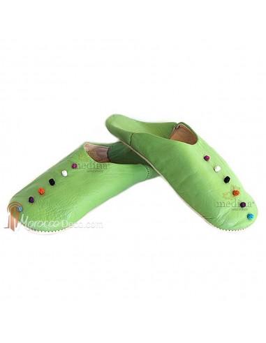 Babouche Rosa Marrakech vert anis, babouches confectionnees et cousues main, chaussons en cuir veritable et soie de sabra