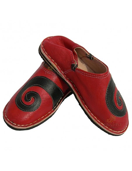 Babouche berbere design spirale Rouge et Noir_ chaussons ou pantoufles robustes et colorés au design atypique