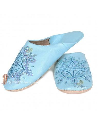 Babouche marocaine originales Paloma bleu clair, pantoufles alliant du confort et de l'élégance, chaussons cousus main