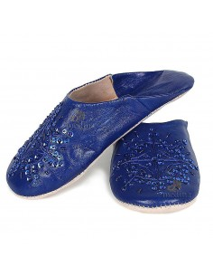 Babouche marocaine originales Paloma bleu foncé, pantoufles alliant du confort et de l'élégance, chaussons cousus main