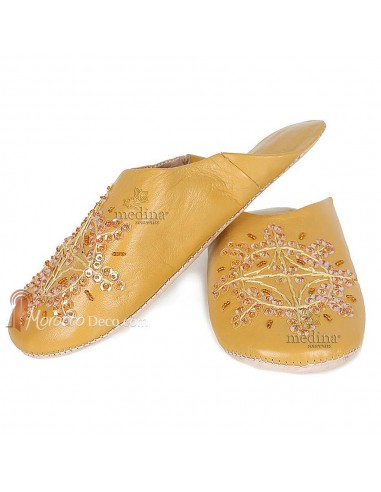 Babouche marocaine originales Paloma moutarde, pantoufles alliant du confort et de l'élégance, chaussons cousus main