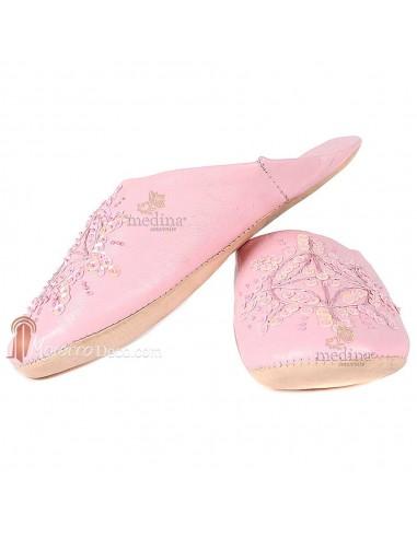 Babouche marocaine originales Paloma rose, pantoufles alliant du confort et de l'élégance, chaussons cousus main