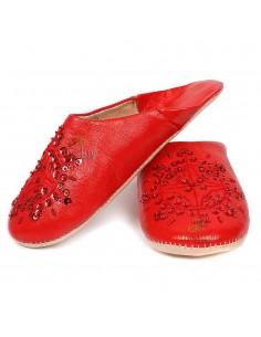 Babouche marocaine originales Paloma rouge, pantoufles alliant du confort et de l'élégance, chaussons cousus main