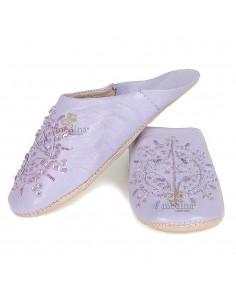 Babouche marocaine originales Paloma violet, pantoufles alliant du confort et de l'élégance, chaussons cousus main