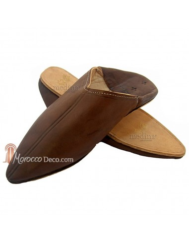 Babouche Homme et Femme traditionnel marron babouche de Marrakech à bout pointu chaussons cousus main mocassins mixtes