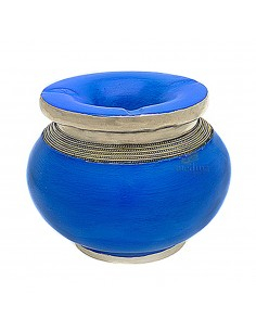 Cendrier marocain tadelakt design bleu, cendrier fait main incrusté et cerclé de métal poli inoxydable et metal brossé torsadé …