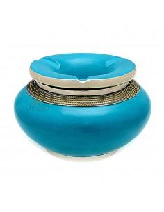 Cendrier marocain tadelakt design turquoise, cendrier fait main incrusté et cerclé de métal poli et metal brossé torsadé