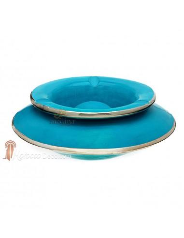 Grand cendrier marocain tadelakt large turquoise, grand cendrier design 100% fait main, avec couvercle stop fumée