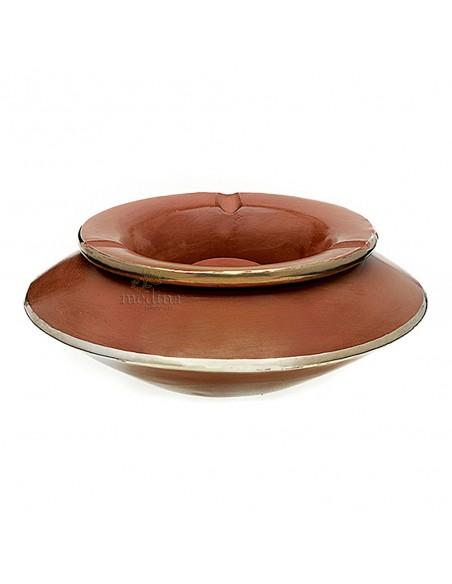 Grand cendrier marocain tadelakt large caramel, grand cendrier design 100% fait main, avec couvercle stop fumée