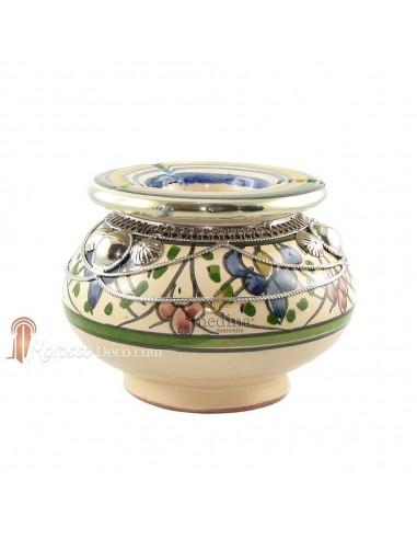 Cendrier marocain fait main multicolore, incrusté et cerclé de métal poli et torsadé