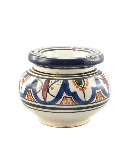 Cendrier marocain fait main bleu, rouge et orange