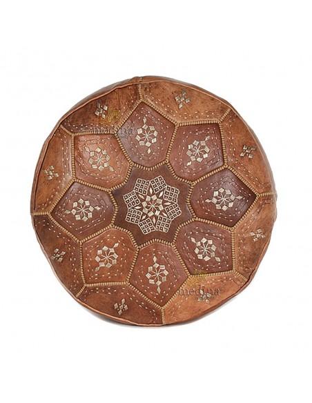 Pouf Nejma en cuir tanné camel, pouf marocain en cuir véritable fait main