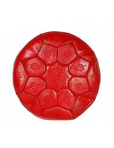 Pouf Nejma en cuir rouge, pouf marocain en cuir véritable fait main