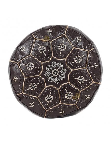 Pouf Nejma en cuir chocolat mocha, pouf marocain en cuir véritable fait main