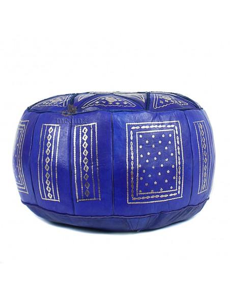 Pouf fassi en cuir Cuir cobalt, pouffe marocain en cuir veritable fait main