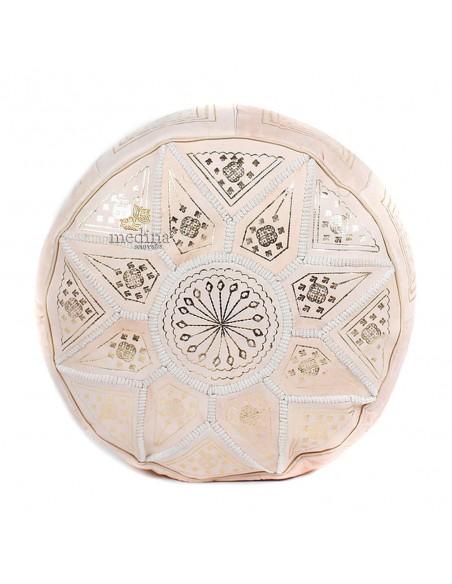 Pouf fassi en cuir Cuir naturel et doré, pouffe marocain en cuir veritable fait main