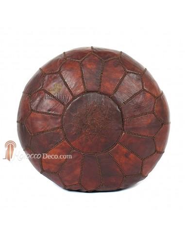 Pouf design marocain en cuir naturel