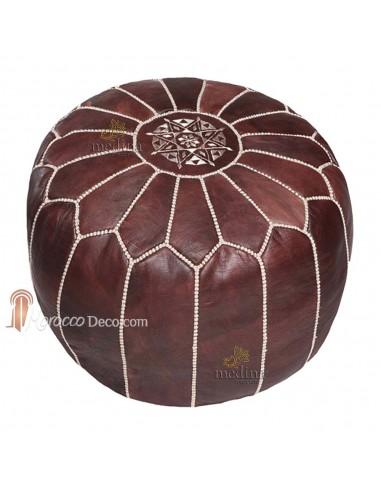 Pouf design cuir marocain marron foncé et coutures beige, pouf en cuir véritable fait main