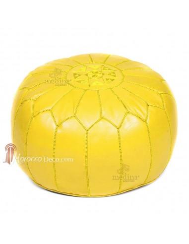 Pouf design cuir marocain jaune, pouf en cuir véritable fait main