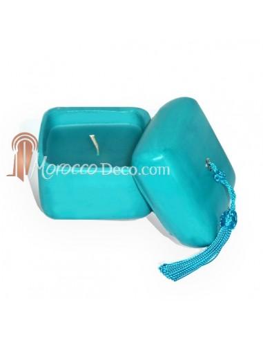 Bougie parfumée tadelakt carré turquoise