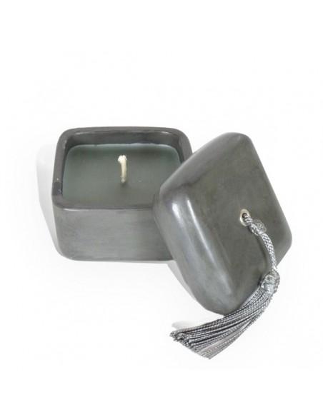 Bougie parfumée tadelakt carré gris
