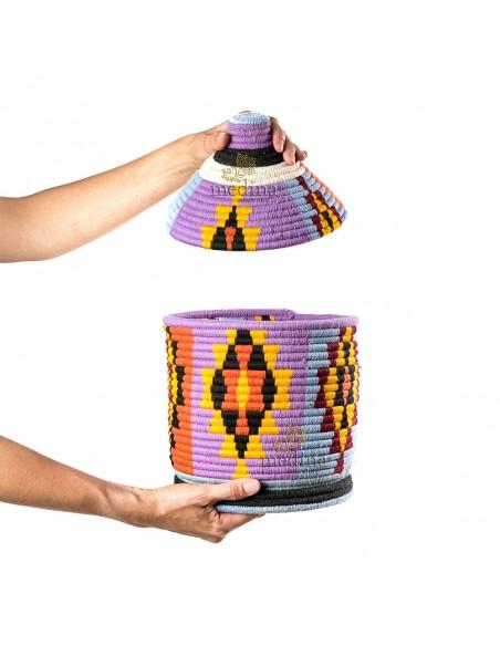 Boite vintage 6 cousue et tissée au fil de laine dans les tons rouge, violet, orange et bleu