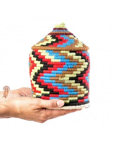 Boite vintage 14 cousue et tissée au fil de laine multicolore