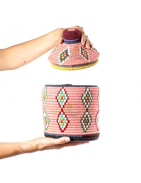 Boite vintage 15 cousue et tissée au fil de laine dans les tons rose