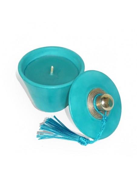 Bougie parfumée tadelakt conique turquoise